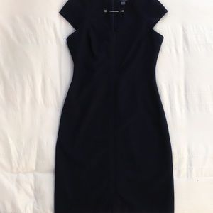 TOMMY HILFIGER NAVY BLUE DRESS WITH METAL ACCESSORIES AND OPEN AT THE FRONT - 6